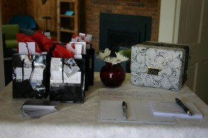 gift bags and drawing box
